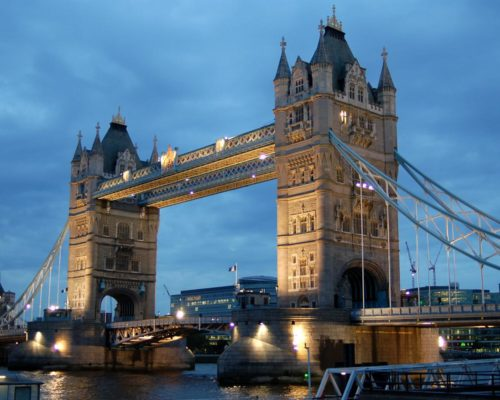 The Tower Bridge in London at dusk.